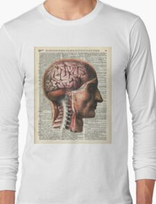 Human Brain Medical Chart Illustration,Vintage Dictionary Art  Long Sleeve T-Shirt