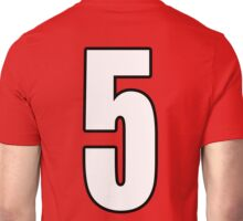 Football, Soccer, 5, Five, Fifth, Number Five, Team, Number, Red, Devils Unisex T-Shirt