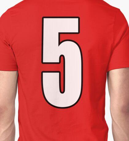 Football, Soccer, 5, Five, Fifth, Number Five, Team, Number, Red, Devils Unisex T-Shirt