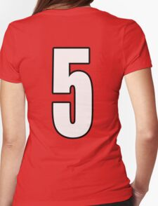 Football, Soccer, 5, Five, Fifth, Number Five, Team, Number, Red, Devils Womens Fitted T-Shirt