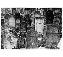 Ancient names fragments - Jewish cemetery in Czeladz Poster