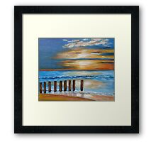 Wave games on the beach Framed Print