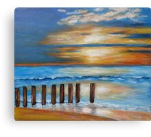 Wave games on the beach Canvas Print