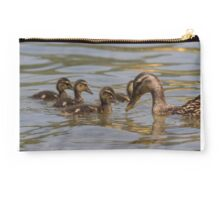 duck with ducklings on lake Studio Pouch