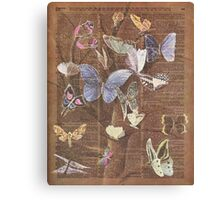 Colourful Butterflies on a Tree, Vintage Dictionary Art Canvas Print