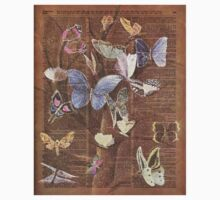 Colourful Butterflies on a Tree, Vintage Dictionary Art One Piece - Short Sleeve
