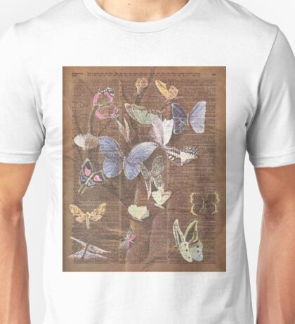 Colourful Butterflies on a Tree, Vintage Dictionary Art Unisex T-Shirt