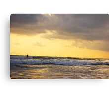 As I surf towards the sunset Canvas Print