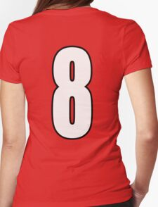 Football, Soccer, 8, Eight, Eighth, Number Eight, Sport, Team, Number, Red, Devils Womens Fitted T-Shirt