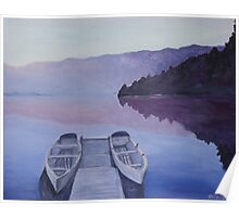 Boat bridge at dawn Poster