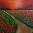 Poppy fields at sunset by olivia-art