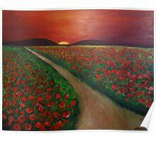 Poppy fields at sunset Poster