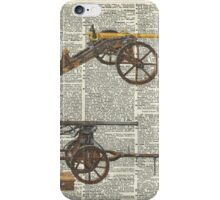 Old military cannons over dictionary book page iPhone Case/Skin