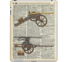 Old military cannons over dictionary book page iPad Case/Skin