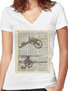 Old military cannons over dictionary book page Women's Fitted V-Neck T-Shirt