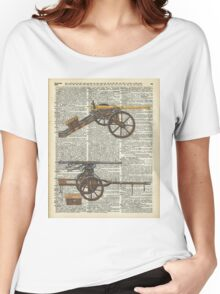 Old military cannons over dictionary book page Women's Relaxed Fit T-Shirt