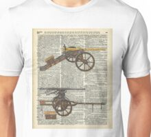 Vintage Military Cannons over Old Dictionary Book Page Unisex T-Shirt