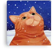 Ginger cat in snow Canvas Print