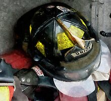 Fire Fighter's Helmet Closeup by Susan Savad