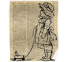 Victorian Child on a Dictionary Page Poster