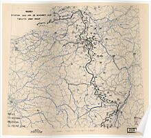 World War II Twelfth Army Group Situation Map November 29 1944 Poster