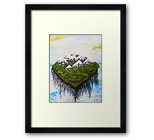 Home, The Floating Land Mass in Space Framed Print