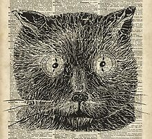 Vintage Steampunk Clock-eyed Cat  by DictionaryArt