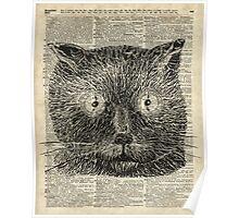Vintage Steampunk Clock-eyed Cat  Poster