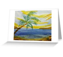 The  Cove, with palm tree in abstract for Series,#2, watercolor Greeting Card
