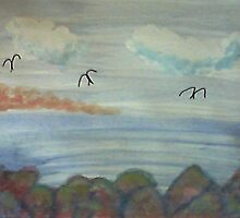 The Cove with Bird Rocks for Series #3, watercolor by Anna  Lewis