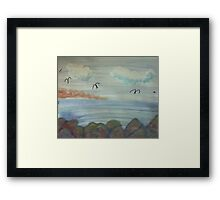 The Cove with Bird Rocks for Series #3, watercolor Framed Print