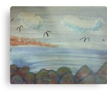 The Cove with Bird Rocks for Series #3, watercolor Metal Print