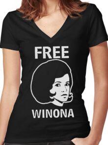 FREE WINONA Ryder DEPP Women's Fitted V-Neck T-Shirt