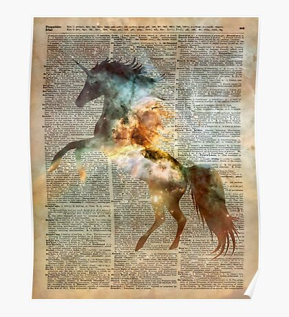 Magic Space Unicorn Dictionary Art Poster