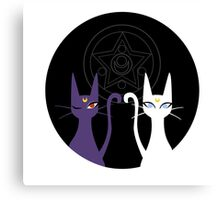 Luna and Artemis - Black Canvas Print