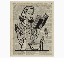 Cooking Girl over Old  Book Page One Piece - Long Sleeve