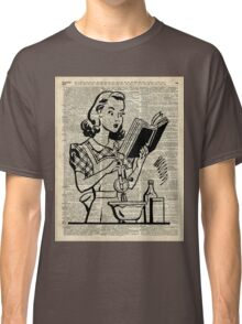 Cooking Girl over Old  Book Page Classic T-Shirt