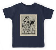 Cooking Girl over Old  Book Page Kids Tee