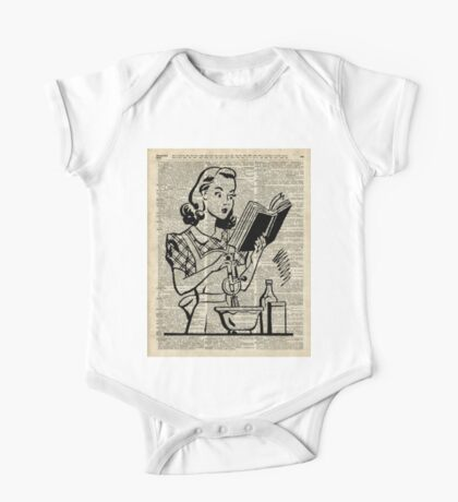 Cooking Girl over Old  Book Page One Piece - Short Sleeve