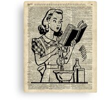 Cooking Girl over Old  Book Page Canvas Print