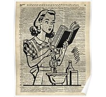 Cooking Girl over Old  Book Page Poster