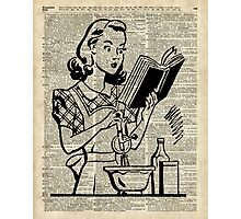 Cooking Girl over Old  Book Page Photographic Print