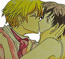 Tamaki and Haruhi Kiss- Ouran High School by merelyAdreamer