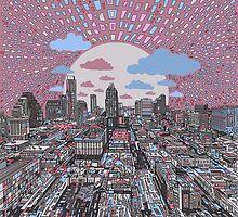 Austin texas skyline abstract 4 by BekimART