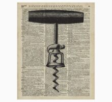 Vintage Corkscrew  Over Old Encyclopedia Page Kids Tee