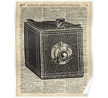 Antique Cube Camera Over Old Encyclopedia Page Poster