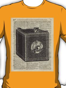 Antique Cube Camera Over Old Encyclopedia Page T-Shirt