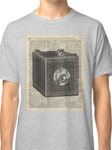 Antique Cube Camera Over Old Encyclopedia Page Classic T-Shirt