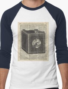 Antique Cube Camera Over Old Encyclopedia Page Men's Baseball ¾ T-Shirt