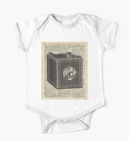 Antique Cube Camera Over Old Encyclopedia Page One Piece - Short Sleeve